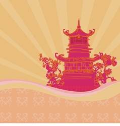 old paper with Asian Landscape vector image