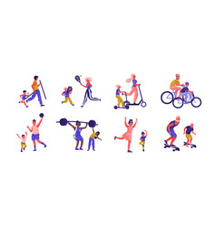 parents and children sport activities cartoon vector image