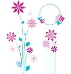 Pink flowers design - floral elements set vector image