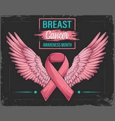 pink ribbon with angel wings breast cancer vector image