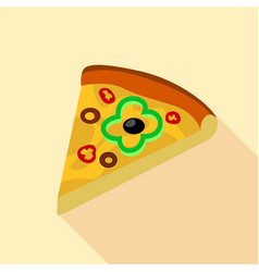 pizza with green pepper and olives icon flat style vector image