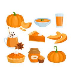 pumpkin vegetable food menu set cartoon raw and vector image
