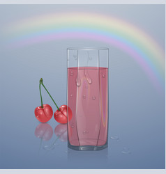 realistic glass filled with juice on light vector image