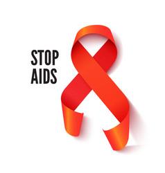 Red aids awareness ribbon realistic vector
