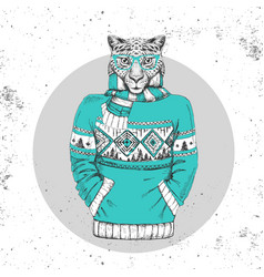 retro hipster animal cheetah dressed in pullover vector image