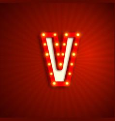 retro style letter v vector image