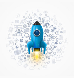 rocket with icons on the background space rocket vector image
