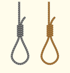 rope hanging loop noose with hangmans knot vector image