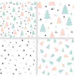 scandinavian christmas seamless patterns vector image
