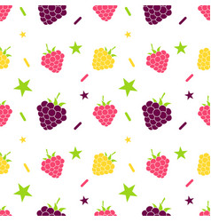 seamless background with blackberry and raspberry vector image