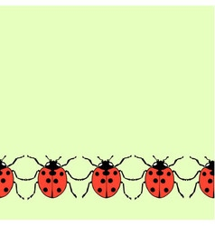 Seamless decorative border from flat ladybugs vector image