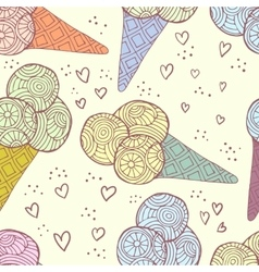 Seamless pattern of ice cream vector