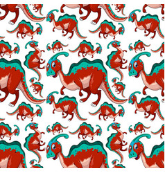 Seamless pattern with fantasy dinosaurs cartoon vector