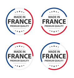 set four french icons made in france premium vector image