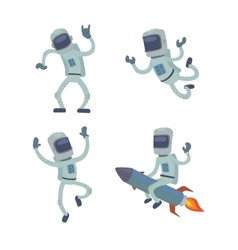 Set of cute astronauts in space working and vector