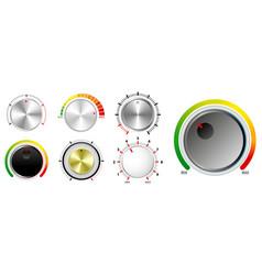 set plastic volume knob or realistic metallic vector image