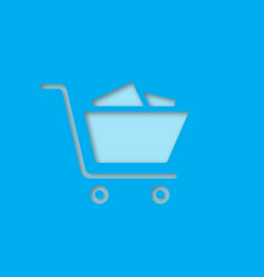 shopping trolley paper cut out icon vector image