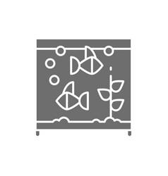Square aquarium with fish grey icon vector