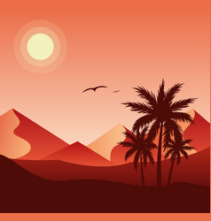 Sunset in desert colorful flat vector