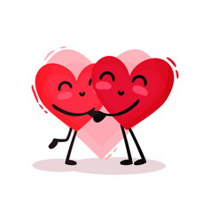 two hugging red hearts adorable couple in love vector image