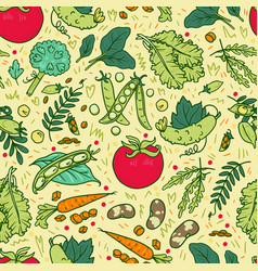 vegetable hand drawn set vector image