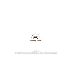 Vintage angus cow bull with sheep lamb goat vector