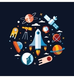 Vintage space and astronaut background vector image