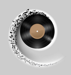 Vinyl disc with music notes flying out in white vector