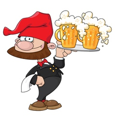 waiter gnome with beer vector image vector image