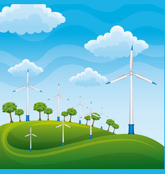 Wind turbines on a green meadow tree producing vector