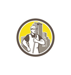 Window cleaner worker holding squeegee circle vector
