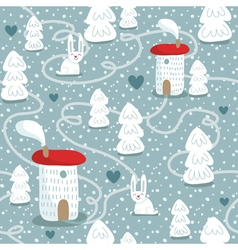 Winter seamless pattern with houses trees and vector image