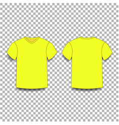 Yellow men s t-shirt template v-neck front and vector
