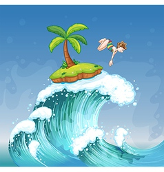 A girl diving on the sea with a small island vector image vector image