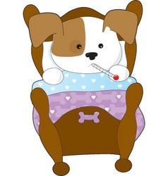 cute puppy sick thm vector image vector image