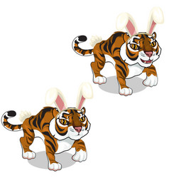 cute tiger in hat with hare ears animals vector image