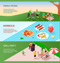 grill party isometric banners vector image vector image