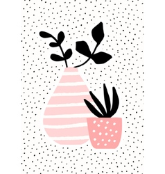 Pink Vase and Pot with Plants vector image vector image