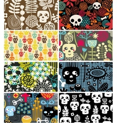 Skulls and flowers cards vector