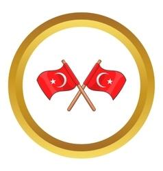Turkey crossed flags icon vector image vector image
