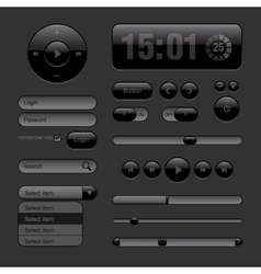 Dark Web UI Elements Buttons Switches bars vector image