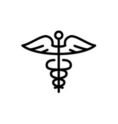 line caduceus icon on white background vector image