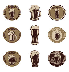 set of beer emblems on white background beer mugs vector image vector image