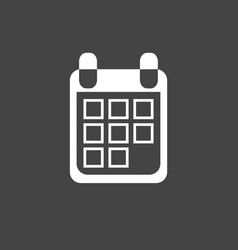 calendar icon on black background flat style vector image vector image