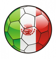 flag of Mexico on soccer ball vector image vector image