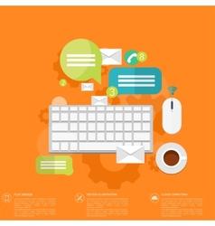 Flat keyboard icon Contact social network vector image vector image