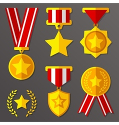Flat medals and awards set with stars icon vector image vector image