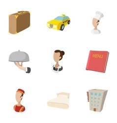 Hostel accommodation icons set cartoon style vector