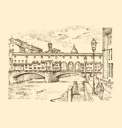 landscape in european town florence in italy vector image vector image