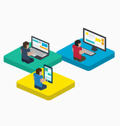 people work on digital devices in web design vector image vector image